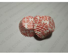 капсула для кексов красный узор, 4,5 см  низ, 4 см бок, 60 шт