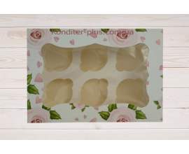 коробка на 6 кексов (розовая)