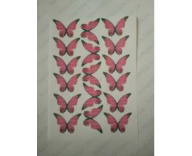 вафельная картинка розовые бабочки, 17 шт, 6.5*4.4 см