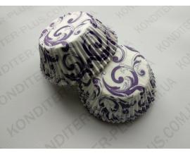 формочка для кексов фиолетовый вензель 50*30, 50 шт