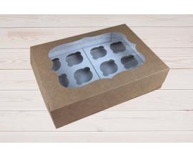 коробка крафт на 12 кексов, Н-9см