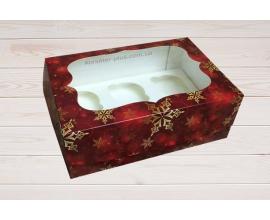 коробка на 6 кексов красная-снежинка, Н-9 см