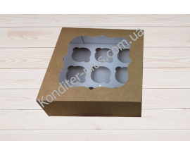коробка на 9 кексов крафт