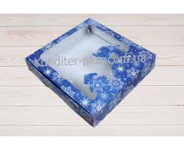 коробка для пряников синяя-новый год 15*15*3