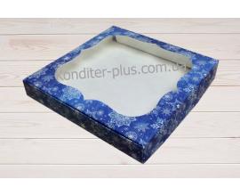 коробка для пряников (синий снег) 15*15*3 см