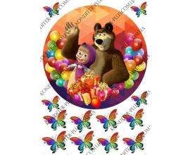 вафельная картинка, Маша и медведь