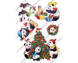 вафельная картинка панда и ее компания №2