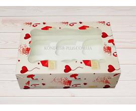 коробка на 6 кексов, валентинка