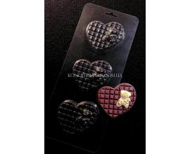 пластиковая форма мини плитки сердце с мишкой №2