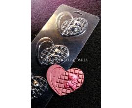пластиковая форма мини плитки сердце с мишкой №2а
