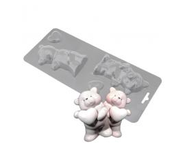 пластиковая форма мишка с сердцем, 3д