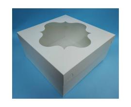 Картонная упаковка для торта белая с окном, 300*300*150