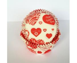 формочки для кексов сердечки красные, 50 шт, 50*30
