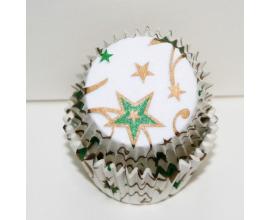 формочки для кексов зеленые звезды, 50 шт, 50*30