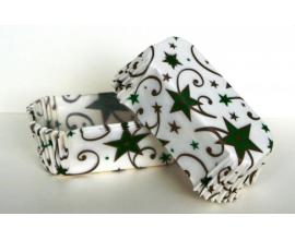 формочки для эклеров зеленые звезды, 500 шт,  дно 8*3.5 см