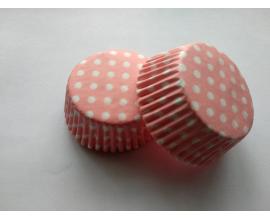 формочка для кексов нежно-розовая в горошек, 50*27 мм, 50 шт