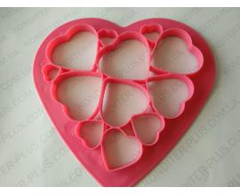 вырубка сердца в сердце, от 7,5 до 2,5 см