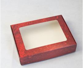 коробка для пряников 192*148*40, красная потертая