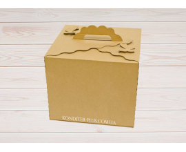 "коробка для торта бурая  ""бабочка"" бурая 300*300*250"