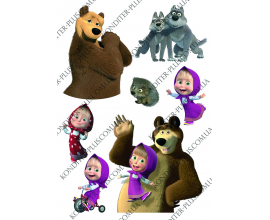 вафельная картинка Маша и медведь №1