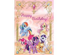 вафельная картинка Литл Пони с днем рождения