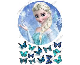 вафельная картинка Эльза (21 см) и бабочки