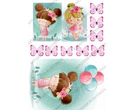 вафельная картинка девочка с шариками