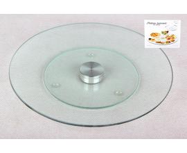 стеклянное блюдо вращающееся, 25 см