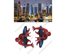 вафельная картинка город+человек паук