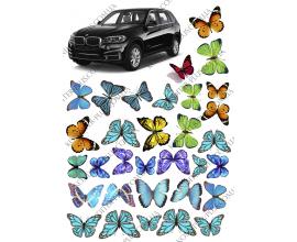 вафельная картинка машина +бабочки