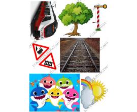 вафельная картинка дерево+ж/дорога