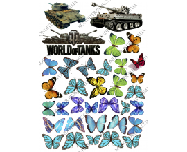 вафельная картинка танки+бабочки