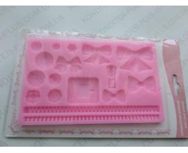 силиконовый планшет пряжка+бантики+пуговицы