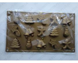силиконовая форма новогодняя, 15 шт высота 4-5 см