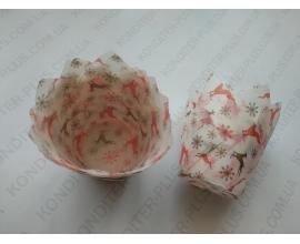 формочки для кексов тюльпан, красные олени, 10 шт
