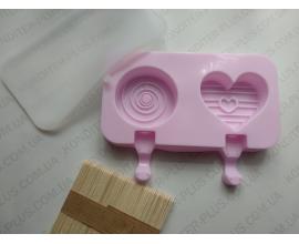 силиконовая форма для мороженого, круг (7 см) и сердце, 7.5*6.5 см