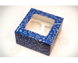 Коробка для 4-х кексов 170*170*90 созвездие