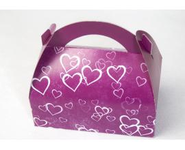 коробка сумочка 170х120х80 фиолет. сердца