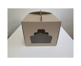 коробка бурая 30*30*25 окно тортик