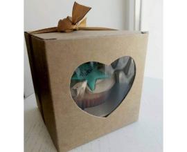 коробка на 1 кекс крафт 90*90*90