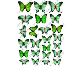 вафельная картинка зеленые бабочки