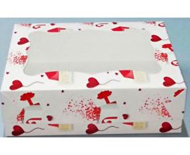 коробка на 12 кексов валентинка (с вкладышем)