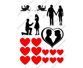 вафельная картинка силуэты любовь 2