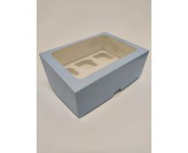 коробка для 6 кексов нежно-голубая