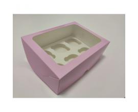 коробка для 6 кексов нежно-розовая,  240*180*90