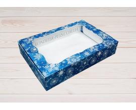 коробка для пряников 15*20*3 (синий снег)