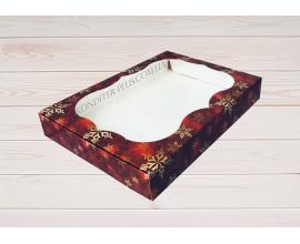 коробка для пряников 15*20*3 (красный снег)