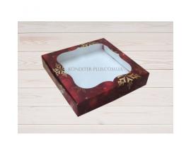 коробка для пряника 23*23*3 (красный снег)