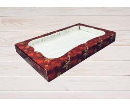 коробка для пряника 15*28*3 (красный снег)