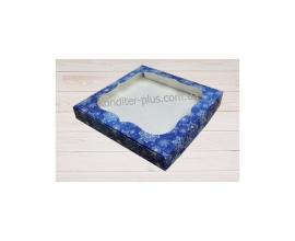 коробка для пряников 23*23*3 (синий снег)